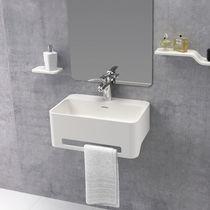 Wand-Waschbecken / rechteckig / Mineralwerkstoff / modern