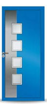 Eingangstür / einflügelig / Aluminium / halbverglast