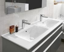 Doppelwaschbecken / Einbau / rechteckig / aus Keramik