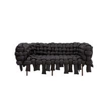 Sofa / originelles Design / Stoff / 3 Plätze / schwarz