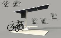 Stahl-Fahrradüberdachung / mit Solarpaneelen