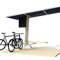 Fahrradüberdachung mit Solarpaneelen