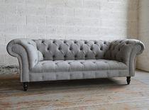 Chesterfield-Sofa / Wolle / aus Mahagoni / 2 Plätze