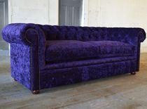 Chesterfield-Sofa / Samt / aus Mahagoni / 4 Plätze