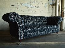 Chesterfield-Sofa / verchromtes Metall / Textil / 2 Plätze