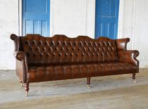 Chesterfield-Sofa / Leder / aus Mahagoni / 2 Plätze