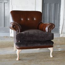 Chesterfield-Sessel / Samt / Leder / braun