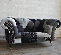 Chesterfield-Sessel / aus Chrom / Textil / mit Rollen