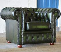 Chesterfield-Sessel / Holz / Leder / grün