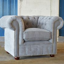 Chesterfield-Sessel / Samt / grau