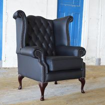 Chesterfield-Sessel / Leder / schwarz