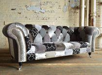 Chesterfield-Sofa / Gewebe / 3 Plätze / mit Rollen