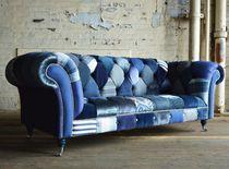 Chesterfield-Sofa / Textil / 3 Plätze / mit Rollen