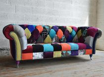 Chesterfield-Sofa / verchromtes Metall / Gewebe / 2 Plätze