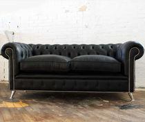 Chesterfield-Sofa / Leder / aus Stahl / 2 Plätze