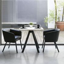 Moderner Stuhl / Gewebe / aus Buche / Armlehnen