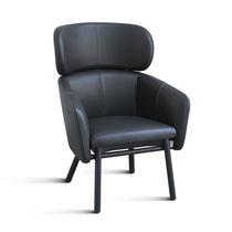 Moderner Sessel / Metall / Gewebe / Leder