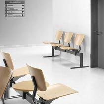 Metalltraversenbänke / Sperrholz / aus Buche / 3 Plätze
