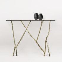 Konsolentisch / organisches Design / Glas / Bronze / Leder