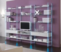 Modernes Regal / Holz / Glas / Gewerbe