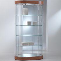 Moderne Vitrine / mit Fußgestell / Glas / aus Eiche