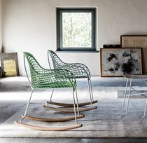 Moderner Stuhl / wippend / Leder / Stahl