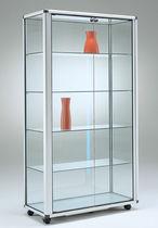 Moderne Vitrine / mit Fußgestell / Glas / Aluminium