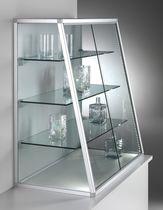 Moderne Vitrine / für Theken / Glas / Aluminium