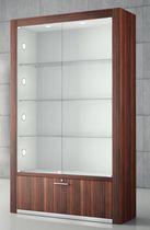 Moderne Vitrine / mit Fußgestell / Glas / Holz