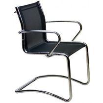 Moderner Besucherstuhl / mit Armlehnen / mit Überhang / Stoff