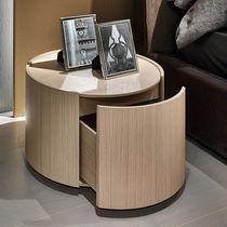 Moderner Nachttisch / Holzfurnier / Natureiche / rund