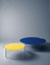Moderner Beistelltisch / Glas / rund / Gewerbe