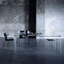 Esstisch / modern / Vorderseite aus Glas / quadratisch