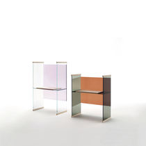 Schreibtisch aus Eiche / Esche / Glas / modern