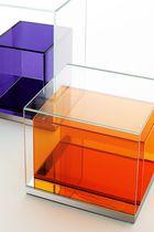 Moderner Beistelltisch / Glas / polierter Edelstahl / quadratisch