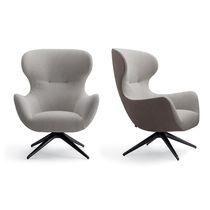 Moderner Sessel / Stoff / Leder / drehbar