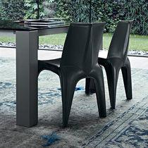 Moderner Stuhl / Polster / Leder / braun