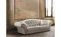 Chesterfield-Sofa / für Innenbereich / aus Leinen / 2 Plätze