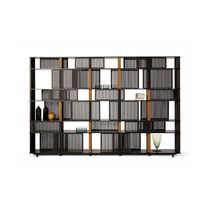 Moderne Bibliothek / Holzfurnier / Leder / HPL