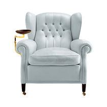 Klassischer Sessel / aus Leinen / Leder / mit Rollen