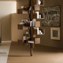 Decke/Boden-Bücherschrank / modern / aus MDF / Nussbaum