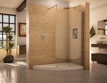 Feststehende Duschwand / für Eckeinbau / gebogen