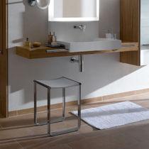Hocker für Duschen / aus Aluminium / verchromtes Metall / Kufen
