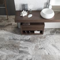 Marmor Steinplatte / poliert / für Innenausbau / grau