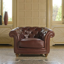 Chesterfield-Sessel / Stoff / Leder