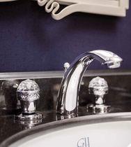 Waschtisch-Mischbatterie / freistehend / verchromtes Metall / für Badezimmer
