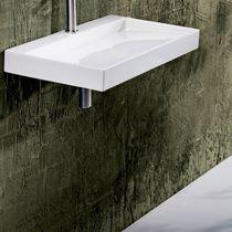 Wand-Waschbecken / rechteckig / aus Keramik / modern