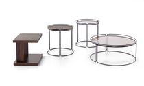 Moderner Couchtisch / Holz / Glas / rund