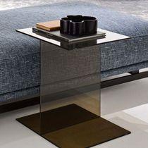 Moderner Couchtisch / Holz / Glas / rechteckig