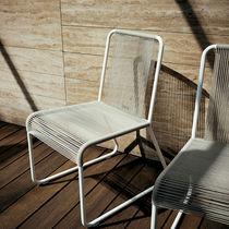 Moderner Stuhl / Kufen / Edelstahl / Polyester